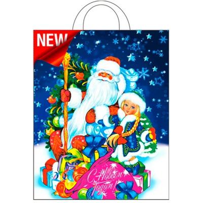 """Новогодний подарочный пакет """"Подарки"""" 28х35 см, 55 мкм, новогодняя упаковка"""