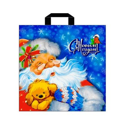 """Новогодний подарочный пакет """"Зимняя прогулка"""" 44х44 см, 70 мкм, новогодняя упаковка"""