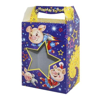 Новогодняя подарочная коробка «Звезда символ» 1000 гр, новогодняя упаковка 2019 с символом года свиньи