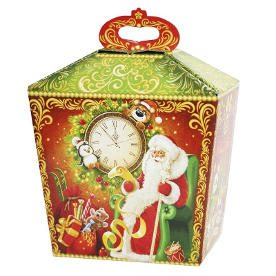 """Новогодняя упаковка """"Сундук с часами"""" 1500 гр, картонная подарочная коробка для конфет"""