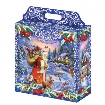 Большая подарочная упаковка  «Новогодний сюжет» 4000 гр, картонная упаковка для новогодних подарков, конфет