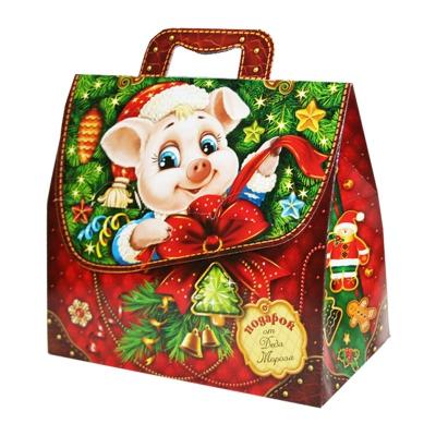 Новогодняя упаковка «Фунтик» 1500 гр, картонная подарочная коробка для конфет | Символ 2019 года свиньи