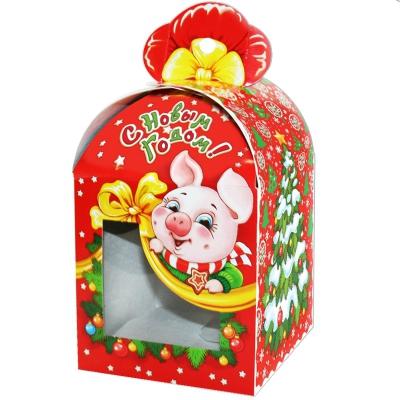 Новогодняя упаковка «Бант с окном» 1000 гр, картонная подарочная коробка 2019 год свиньи