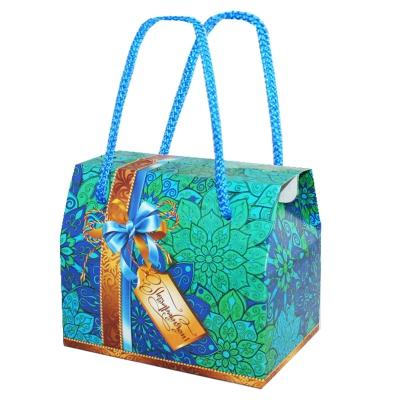 """Подарочная упаковка """"Бирюза"""", 800 гр, картонная коробка с веревочными ручками"""