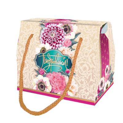 """Подарочная упаковка """"Ленты"""", 800 гр, картонная коробка с веревочными ручками"""