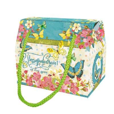 """Подарочная упаковка """"Бабочки"""", 800 гр, картонная коробка с веревочными ручками"""
