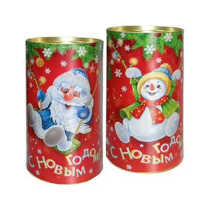 Подарочные картонные тубы «Дед Мороз и снеговичок» 1000 гр, новогодняя упаковка