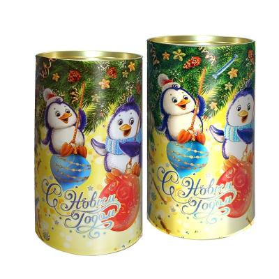 Подарочные картонные тубы «Пингвины и шарики» 1000 гр, новогодняя упаковка