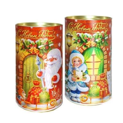 Подарочные картонные тубы «Чудеса у порога» 1000 гр, новогодняя упаковка