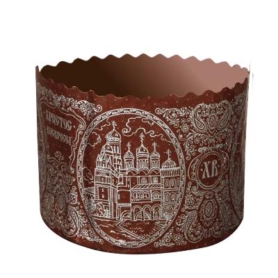 Форма бумажная для куличей  Собор Серебро, 110х85 мм, 300-350 гр