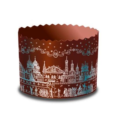 Бумажная форма для куличей ХРАМ Серебро 134x100 мм, 500-550 гр, пасхальная форма для выпечки