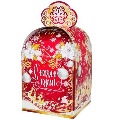"""Подарочная коробка """"Золотая метель"""", 800-1000 гр, картонная новогодняя упаковка для конфет, подарков"""