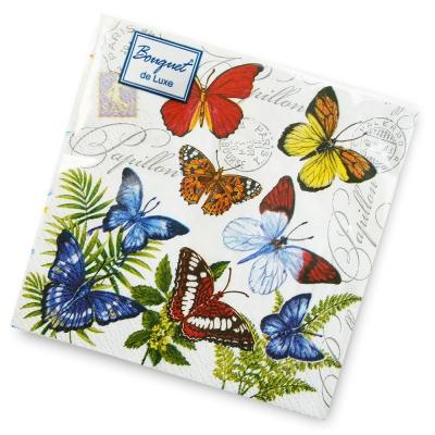 Салфетки бумажные 2сл., 24х24 Bouquet Бабочки , 25шт.
