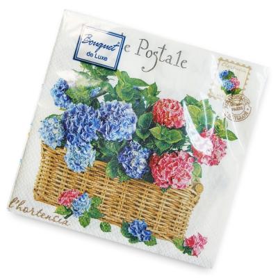 Салфетки бумажные 2сл., 24х24 Bouquet Гортензия, 25шт.