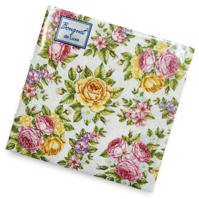 Салфетки бумажные 2сл., 24х24 Bouquet Поле роз, 25шт.