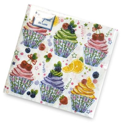 Салфетки бумажные 2сл., 24х24 Bouquet Сладкие пирожные, 25шт.
