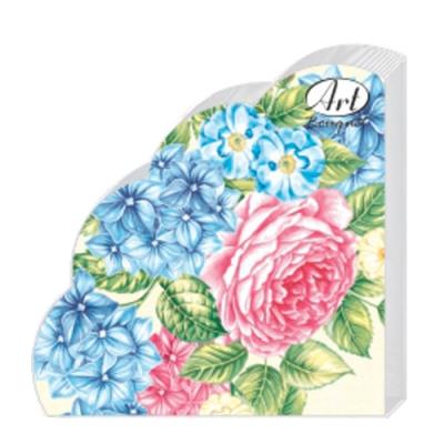 Салфетки бумажные 3сл., d=32 см, Rondo Гортензии и Розы, 12 шт.
