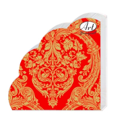Салфетки бумажные 3сл. Rondo Золотой орнамент на красном, d=32 см,12 шт.