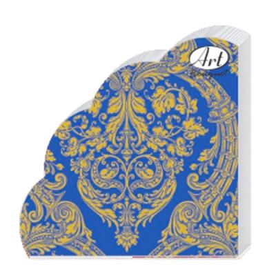 Салфетки бумажные 3сл. Rondo Золотой орнамент на синем, d=32 см, 12 шт.