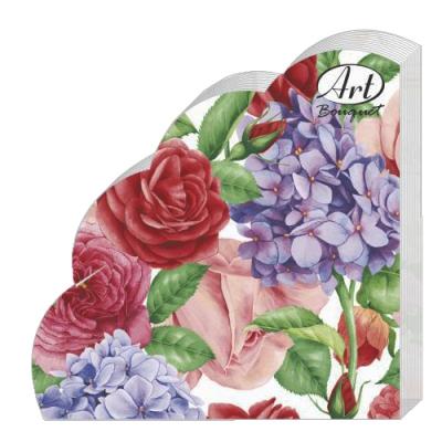 Салфетки бумажные 3сл., d=32 см, Rondo Прекрасные цветы, 12 шт.