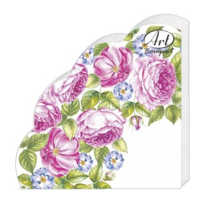 Салфетки бумажные 3сл., d=32 см, Rondo Розы, 12 шт.