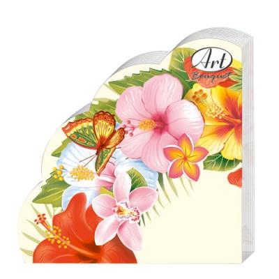Салфетки бумажные 3сл., d=32 см, Rondo Тропические цветы, 12 шт.
