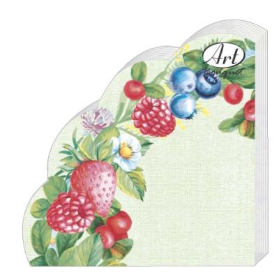 Салфетки бумажные 3сл., d=32 см, Rondo Ягодное ассорти, 12 шт.