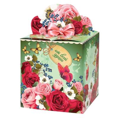 """Подарочная упаковка """"Розы"""", 400гр, картонная коробка"""