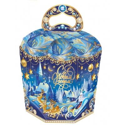 Новогодняя подарочная упаковка «Зимний вечер 0.8», 800 гр, картонная коробка для подарков, конфет