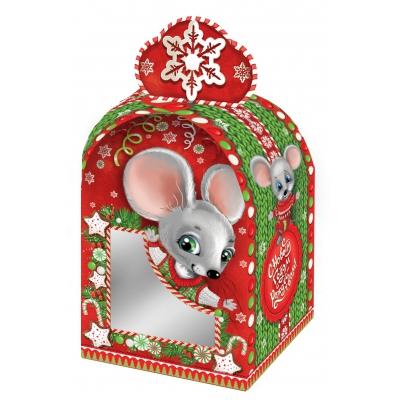 """Подарочная коробка """"Вязаная"""", 800-1000 гр, картонная новогодняя упаковка 2020 год мыши, крысы"""
