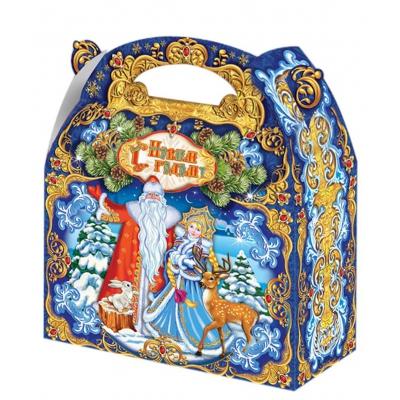 Подарочная упаковка  «Синяя сказка», 1500 гр, картонная новогодняя упаковка для конфет