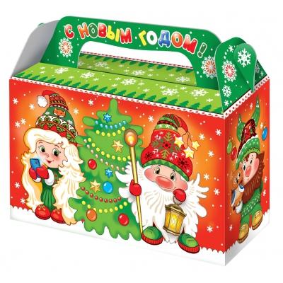 """Подарочная коробка """"Гномики 0.5"""", 500 гр, картонная новогодняя упаковка для конфет"""