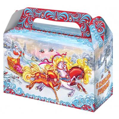 """Подарочная коробка """"Тройка"""", 500 гр, картонная новогодняя упаковка для конфет, подарков"""