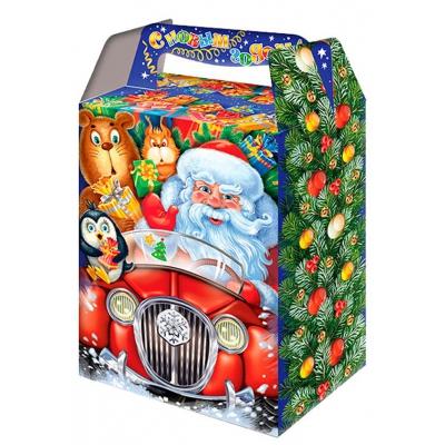 """Новогодняя подарочная упаковка """"Машинка РЕТРО"""", 1000 гр, картонная коробка для конфет, детских подарков"""