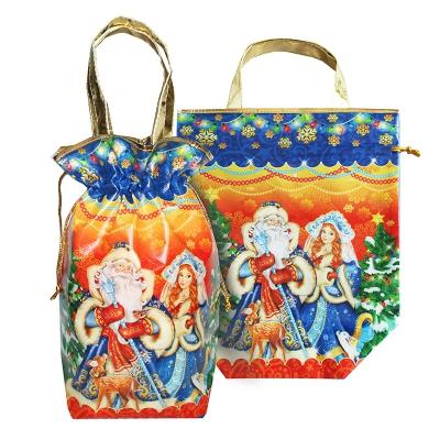 """Подарочная сумка-мешок с двумя ручками """"Традиция"""", 2000 гр, новогодняя упаковка для конфет"""