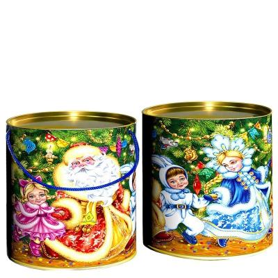 Подарочные картонные тубы «Под ёлкой» 500 гр, новогодняя упаковка для конфет