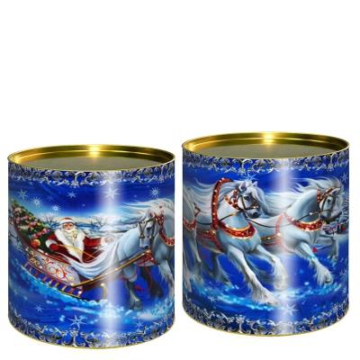 Подарочные картонные тубы «Кони» 500 гр, новогодняя упаковка