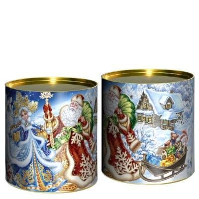 Подарочные картонные тубы «Дед Мороз и Снегурочка» 500 гр, новогодняя упаковка для конфет, тубус