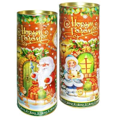 Подарочные картонные тубы «Чудеса у порога» 1500 гр, новогодняя упаковка для конфет
