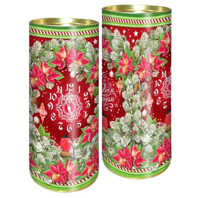 Подарочные картонные тубы «Еловый узор» 1500 гр, новогодняя упаковка