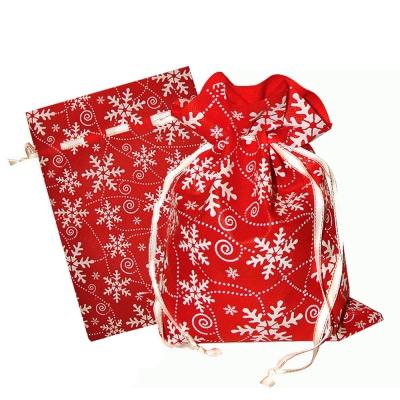 Подарочный мешок «Снежинки» красный 1300 гр, текстильная новогодняя упаковка для подарков, конфет