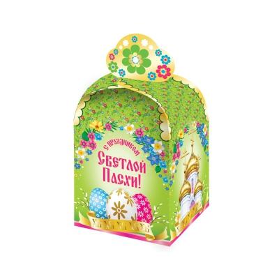 """Картонная подарочная коробка для кулича """"Пасхальная Цветочная"""" 300-350 гр, пасхальная упаковка купить оптом"""