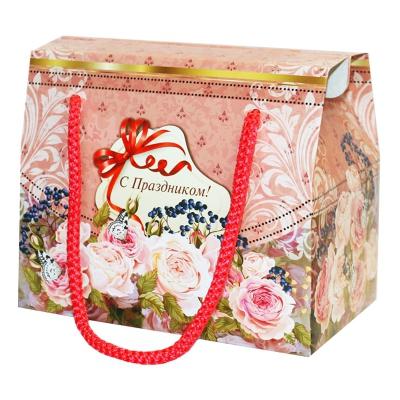 """Подарочная упаковка """"Фантазия"""" 800 гр, картонная коробка с веревочными ручками"""