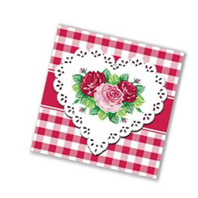 """Салфетки бумажные 1сл., 25х25, """"Сердце и розы"""", 40шт."""