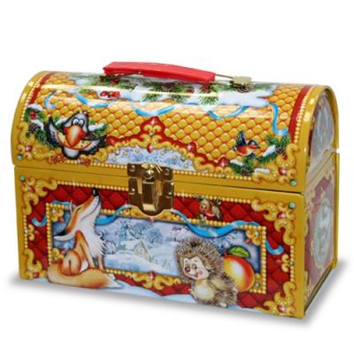 Жестяная упаковка сундучок «Лесная сказка» 1200 гр, для новогодних подарков