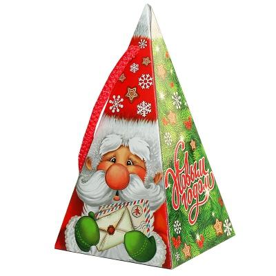 Новогодняя подарочная коробка «Пирамидка-дедуня» 300 гр, новогодняя упаковка