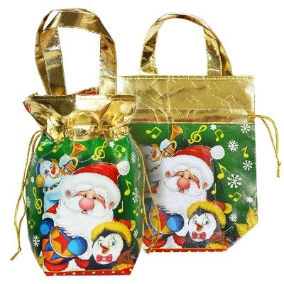 """Сумка-мешок с ручками """"РЕТРО"""", 1300 гр, новогодняя упаковка для подарков, конфет"""