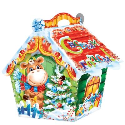 Новогодняя подарочная коробка «Избушка СИМВОЛ» 1500 гр, новогодняя упаковка 2021 год быка, коровы