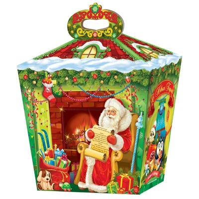 """Новогодняя упаковка """"У камина"""", 1500 гр, картонная подарочная коробка для конфет, детских подарков"""