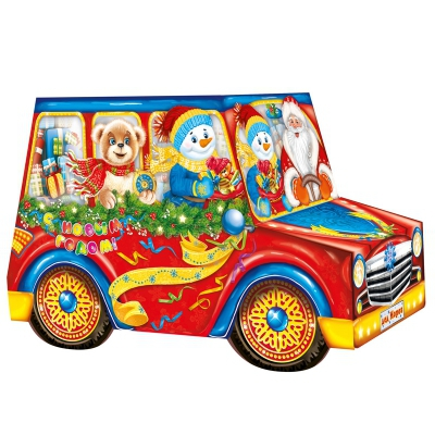 """Новогодняя упаковка """"Красное Авто"""", 1400 гр, картонная подарочная коробка для конфет"""